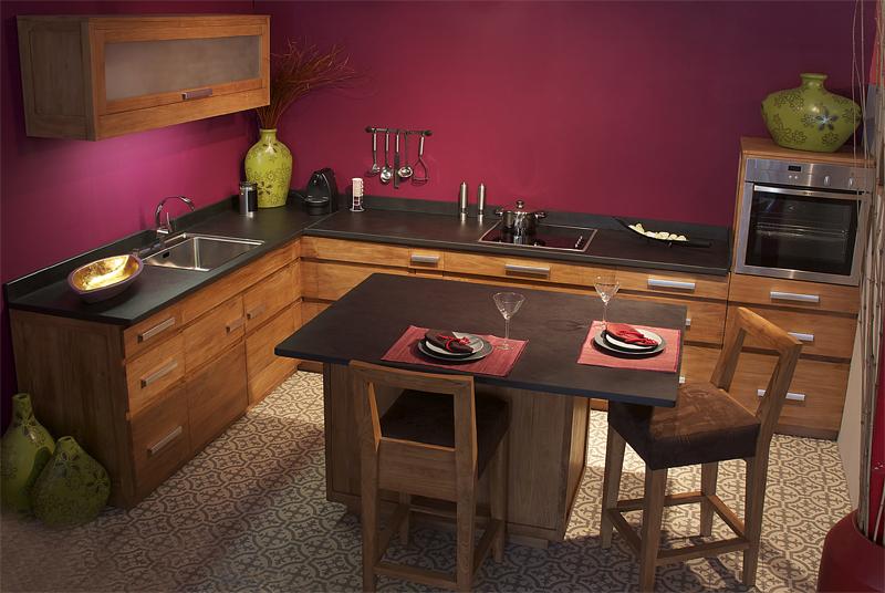 meubles de cuisine en teck massif collection kayumanis. Black Bedroom Furniture Sets. Home Design Ideas