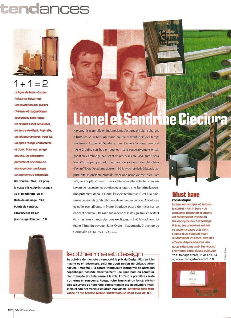 revue de presse du magazine residence de 2006- Kayumanis