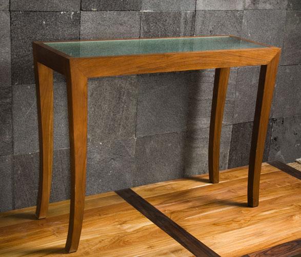 table console en teck massif et verre de Kayumanis