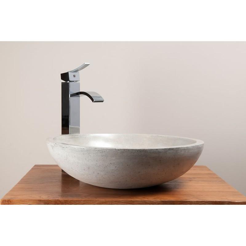 vasque-ronde-beton-cire-pour-2-robinets-kayumanis - kayumanis