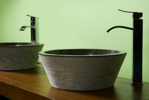 vasques bol en marbre de Java pour meuble de salle de bain Kayumanis