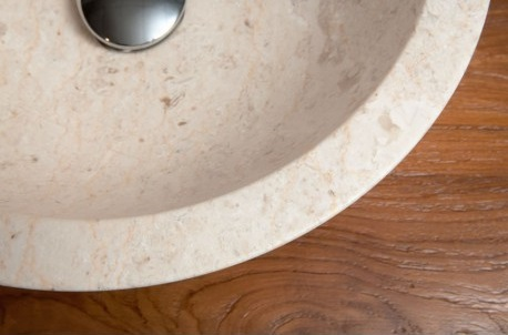 vue intérieur poli vasque en marbre de java de forme bol