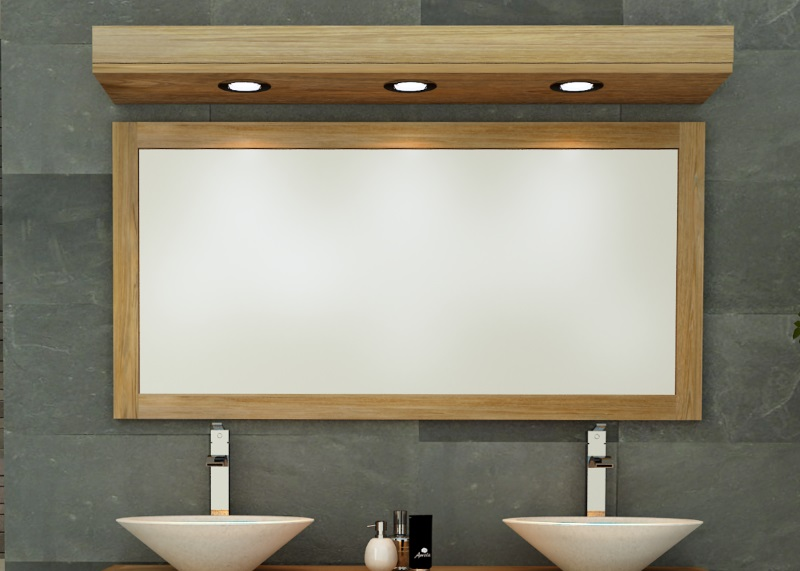 bandeau halogène en teck et miroir en teck pour salle de bain