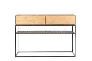 console en teck 2 tiroirs et 1 étagère - onetwo drawers Kayumanis