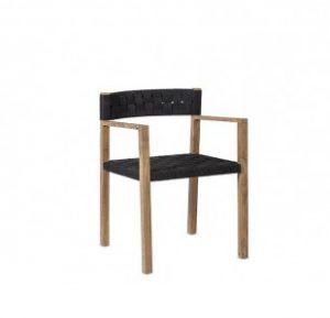 Chaise en teck massif noire - CORA - Kayumanis