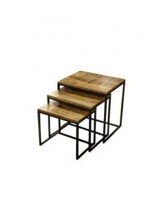 set de 3 tables basses rustiques en bois de manguier - GIGOGNES de Kayumanis